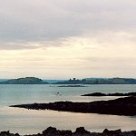 Aberdour Castle: Inchcolm Abbey in the Firth of Forth as seen from Aberdour Castle.
