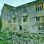 Hemlsley Castle: Exterior of the Latrine Tower and Chamber Block of Helmsley Castle.  The door would have had a bridge spanning the inner ditch.