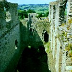 Middleham Castle: View looking down to the cellar and Great Hall of Middleham Castle.