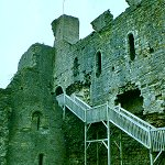 Staircase to the Great Hall of Middleham Castle.