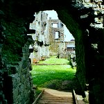 Middleham Castle: Archway looking north towards the Keep of Middleham Castle.