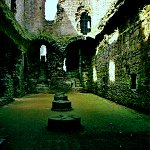 Cellars and Great Hall of Middleham Castle.