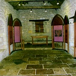 Interior of the restored 13th century chapel in the Inner Bailey.