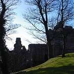 Ravenscraig Castle, Kirkcaldy, Fife, Scotland: View from Ravenscraig Park.