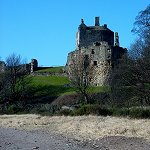 Ravenscraig Castle: View of the Castle and East Tower from the beach to the east.