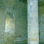 Richmond Castle: Basement of Castle Tower showing backfilled windows at Richmond Castle.