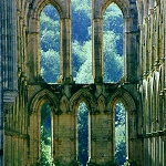 Rievaulx Abbey: View of the windows at the end of the Presbytery of Rievaulx Abbey.