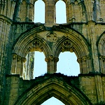 Rievaulx Abbey: Detail of the windows in the South Trancept of Rievaulx Abbey.
