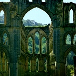 Rievaulx Abbey: View down the Presbytery from the Nave of Rievaulx Abbey.