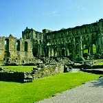 Rievaulx Abbey: Abbots House, Infirmary, Presbytery and South Trancept of Rievaulx Abbey.