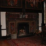 Samlesbury Hall: View of the ornate Parlour fireplace of Samlesbury Hall.