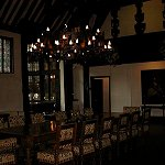 Samlesbury Hall: View of the Great Hall and Minstrels Gallery at Samlesbury Hall.