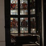 View of the stained glass Oriel Bay Window at Samlesbury Hall, taken from the Great Hall.
