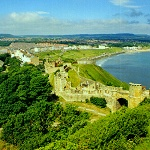 Scarborough Castle showing Barbican Gatehouse.