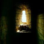Scarborough Castle: Sunlight coming through a window at Scarborough Castle