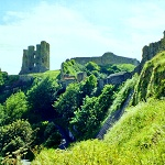 Henry II's Great Tower, curtain wall and Barbican Gatehouse at Scarborough Castle.