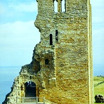 Scarborough Castle: The ruined Great Tower built by Henry II at Scarborough Castle