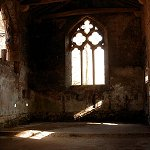 Skipton Castle: Interior view of the window in the Castle Chapel at Skipton Castle.